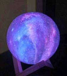 Luminária Planeta Cheia 3D Troca de Cor