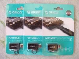 Adaptador / Cabo OTg USB Tipo C e Micro USB (V8) Orico