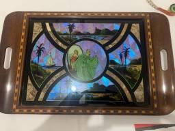 Bandeja em madeira e vidro pintada mão exclusiva!!! Trabalho de marchetaria na madeira