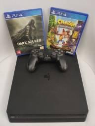Playstation 4(PS4) Slim 500GB + Controle + 2 Jogos