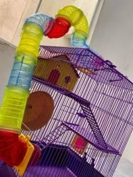 Gaiola Para Hamster Ramster 3 Andares Com Tubos Coloridos