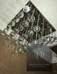 Lustre Quadrado Pirâmide de Cristal 36x36x25cm