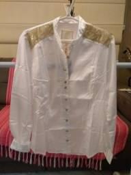 Camisa Paola Trevisol com renda
