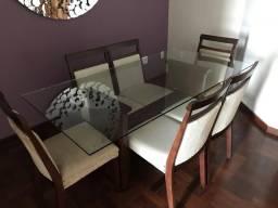 Mesa de vidro + 6 cadeiras