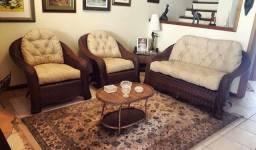 Conjunto de sofa liz em fibra sintetica
