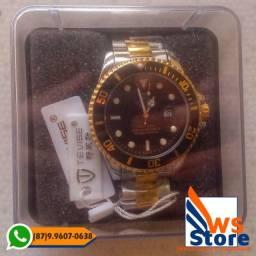 Relógio de Luxo Dourado e Prata Masculino Tevise T801