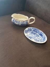 Conjunto de sopeira oxford de porcelana cena inglesa