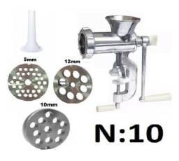 Moedor De Carne Manual N10 + 3 Disco 5, 10, 12mm + 1 Funil