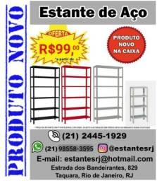 A partir de R$99,00 Super Kit 4 Prateleiras Reguláveis Estante de Aço / Ferro NA CAIXA