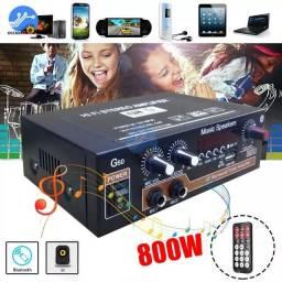Título do anúncio: Amplificador G50 800w AC/DC 12V/100-220V - Bluetooth 5.0 ? USB, Micro Cartão, FM