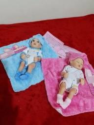 Bebês Reborn Gêmeos de 25cm 100% Silicone (NÃO FAÇO MENOR PREÇO)