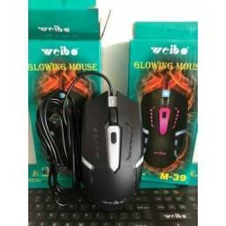 Mouse Com Fio Gamer USB Weibo com Luzes