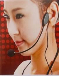 microfone de cabeça passadeira pc caixa de som celular p2 novo
