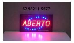 Placa Aberto Painel Letreiro Led Luminoso Quadrado 110v 220v