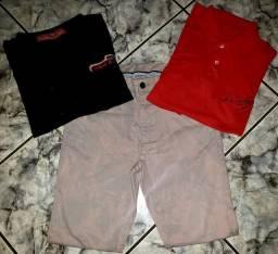 Kit 03 Calça Slim Fit + 2 Camisas Tamanho: M // Unissex