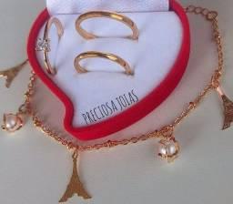 Alianças de aço banhadas a ouro, em promoção!!