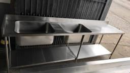 Pia inox industrial 2,60x60 com 2 cubas