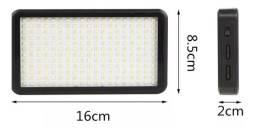 Iluminador W228 Dupla Cor 228 Leds 3200k~6000k Completo com Bateria e Carregador