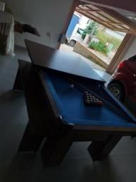 Mesa com 4 Pés Laterais Cor Imbuia Tecido Azul Mod. AGNO4214