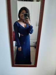 Vestido de festa, super elegante, azul marinho com lurex bem discreto, tamanho 40
