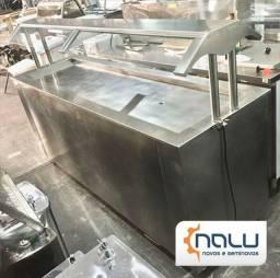 Buffet Refrigerado de Encosto Inox 6 GNS c/ Protetor Salivar Seminovo