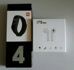 Smartband M4 + Fone Bluetooth i7s