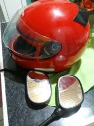 Vendo capacete semi novo e par de espelhos de ybr