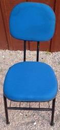 Cadeiras fixas para escritório, estofadas em corino, cor azul, novas.