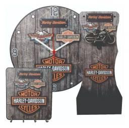 Kit Abridor De Garrafa, Relógio E Porta Chaves Harley