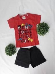 Conjunto Infantil Camiseta e Short Masculino Tamanho P