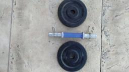 Barrinha e anilhas para halteres musculação