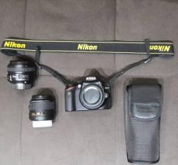 Câmera Nikon D3200 + Flash + Lentes
