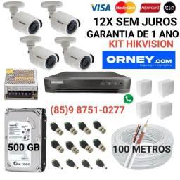 Título do anúncio: Câmeras... kit de 4 câmeras HIKVISION em 12X SEM JUROS.
