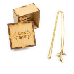 Corrente Banhada Ouro Cordão 60cm + Pingente Cruz Vazada