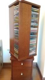 Porta cd e gaveteiro em madeira maciça