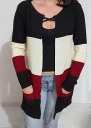 Cardigans e casacos de tricot quentinhos e tecido bem encorpado