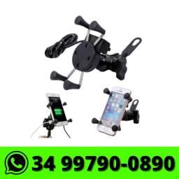 Suporte de Celular Garra p/ Moto c/ USB