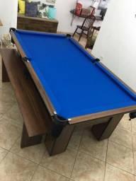 Mesa de Bilhar Cor Imbuia Tecido Azul Mod. LIEM3803