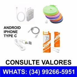 Cabos, Fontes, Aptadores Android Type C Iphone *Consulte *Chame no Whats