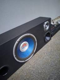 Caixa de som, modulo e fonte de energia