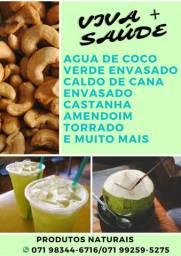Agua de coco verde envasada e caldo de cana envasado