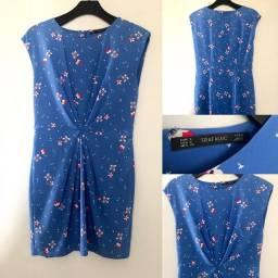 Zara - vestido importado azul com flores P