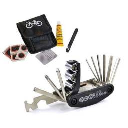 Kit emergência reparo pneu chaves bicicleta bike