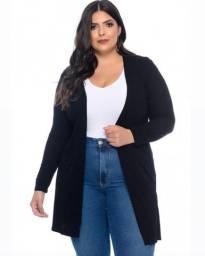 Cardigan tricot plus size preto
