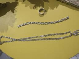 Corrente, pulseira e anel