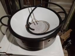 Fritadeira e chapa para lanches