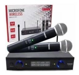 Microfone Duplo Sem Fio Uhf Digital 60m Bivolt Wireless