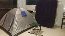 Kit camping barraca colchão mesinha