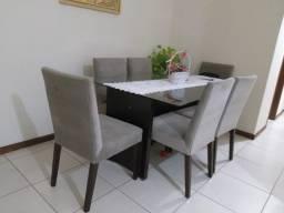 Mesa de jantar 6 cadeiras em madeira