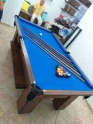 Mesa com Redinhas Cor Imbuia Tecido Azul Mod. QOVL6450